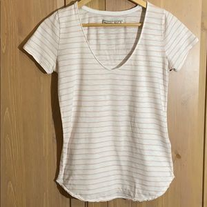 Abercrombie & Fitch pink and white striped tee